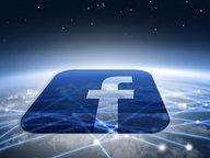 Facebook - Logo vor einem, weltumspannenden, abstrahiertem Netzwerk (Montage) © fotolia.com Fotograf: Kobes