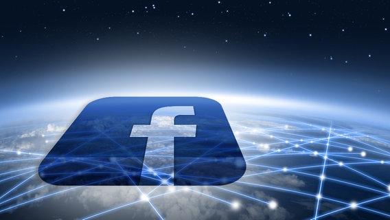 Facebook - Logo vor einem, weltumspannenden, abstrahiertem Netzwerk (Montage) © fotolia.com Foto: Kobes